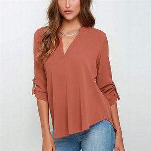 Tops - Sexy Women V-neck Solid Chiffon Blouse - Orange